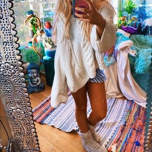 Bohemian Lux Cable Knit Thick Chunky Chenille Swtr